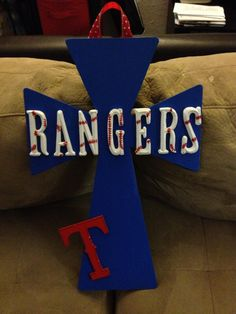 Texas Rangers Hanging Cross. $50.00, via Etsy.