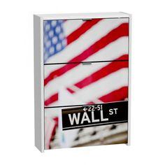 Ref. 14322 Zapatero 3 puertas blanco 127x75cm, Wall Street. P.V.P. 90.-€ I.V.A. incluido. Portes no incluidos. Forma de pago. CONTRAREEMBOLSO. Pedidos por Email: mobihogar2000@yah... o por teléfono al 964 53 14 79. Alto: 127 cm. Ancho: 75 cm. Fondo; 24 cm.  Sistema KIT.