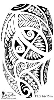 Polynesian Style 1/2 Sleeve Flash Tattoo Design