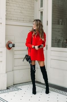 red turtleneck sweater dress with black thigh high boots. Visit Daily Dress me a… red turtleneck sweater dress with black thigh high boots. Visit Daily Dress me a… – Mode Outfits, Outfits For Teens, Casual Outfits, School Outfits, Winter Outfits, Dress Winter, Red Dress Outfit Casual, Dress Outfits, Red Outfits For Women