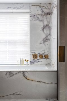 Marble Tub Surround With Brass Faucet