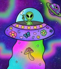 Hippie Painting, Trippy Painting, Trippy Alien, Psychadelic Art, Alien Girl, Trippy Wallpaper, Ufo, Tattoo Drawings, Diy Art