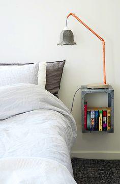 diy copper and concrete lamp.