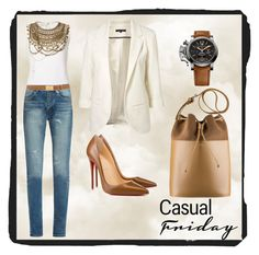 """""""Casual Friday 038"""" by chinkie28 ❤ liked on Polyvore featuring Oscar de la Renta, Yves Saint Laurent, WithChic, Christian Louboutin and Prada"""