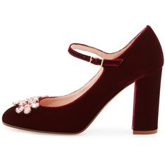 kate spade new york ballina crystal velvet mary jane pump found on Polyvore featuring shoes, pumps, heels, strappy pumps, mary jane pumps, block heel pumps, block-heel mary janes and velvet pumps