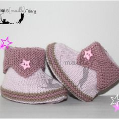 Chaussons bébé fille en tricot, rose clair et vieux rose   hand-knitted baby f94395d265f