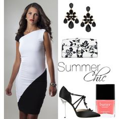 """""""Summer Chic Perlae Couture Style"""".   Make your summer style chic this season with Perlae Couture's Black and White Color Block Dress. This classic look is completed with Oscar De La Renta Satin Pumps and drop earrings, Ralph Lauren's Soft Ricky Clutch and beautiful pink nails from Butter London. Absolutely Fabulous! Shop www.perlaecouture.com to get this great cocktail dress for your next event!  #colorblock #springsummer2014 #blackandwhite"""