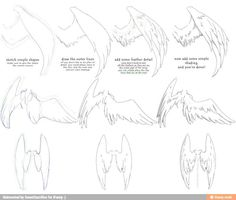How to draw Castiel wings