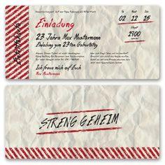 Weckt das Interesse eurer Gäste mit der Strenggeheim Vintage Karte. https://www.gestaltenlassen.com/einladungskarten-als-eintrittskarte-vintage.html