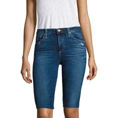 AG Brooke Distressed Denim Bermuda Shorts ($158) ❤ liked on Polyvore featuring shorts, distressed denim bermuda shorts, bermuda shorts, ag adriano goldschmied, distressed denim shorts and ripped shorts