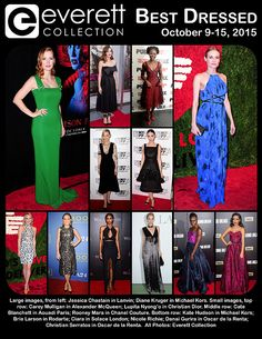 Large images, from left: Jessica Chastain in Lanvin; Diane Kruger in Michael Kors. Small images, top row: Carey Mulligan in Alexander McQueen; Lupita Nyong'o in Christian Dior. Middle row: Cate Blanchett in Aouadi Paris; Rooney Mara in Chanel Couture. Bottom row: Kate Hudson in Michael Kors; Brie Larson in Rodarte; Ciara in Solace London; Nicole Richie; Danai Gurira in Oscar de la Renta; Christian Serratos in Oscar de la Renta.