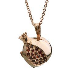 14K Yellow Gold Menorah Pendant with Rubies Jewish Jewelry