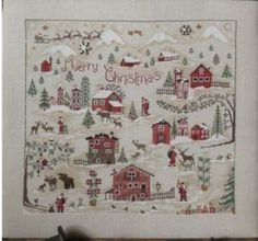 Christmas Village is the title of this cross stitch pattern (includes button pack) from Sara Guermani that is stitched with DMC threads. Lim...