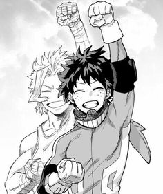 Izuku, All Might, young, childhood, smiling, cool, fist pump, hero, suit, uniform, outfit; My Hero Academia