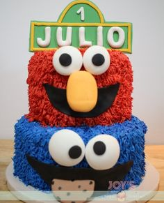 🎵🎶Can you tell me how to get to Sesame Street? Elmo and Cookie Monster Cake for a Sesame Street Themed Party 📷 . Elmo And Cookie Monster, Cake Ideas, Party Themes, Toronto, Baby Boy, Joy, Cookies, Canning, Street