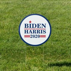 Biden Harris 2020 Circle Yard Lawn Sign - tap to personalize and get yours #election #election #2020 #democrat #progressive