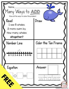 FREE Addition Activity - Many ways to add free worksheet - number lines - ten frames - story problem - equations and MORE - kindergarten math unit for addition and subtraction with FREE printables - Common Core aligned Kindergarten Addition Worksheets, Subtraction Kindergarten, First Grade Math Worksheets, 1st Grade Math, Addition And Subtraction Worksheets, Addition Activities, Math Games For Kindergarten, Number Line Activities, First Grade Freebies