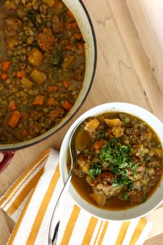 ***sausage and lentil stew. hot Italian turkey sausage and just a little olive oil, 1 additional carrot, 3/4 teaspoon each of dried oregano, dried thyme, and sea salt, 1 tablespoon dried parsley...