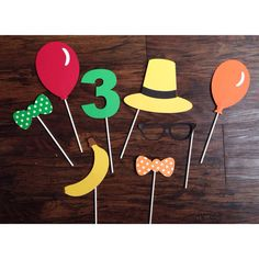 Set of 7 Curious George photo party props by MamaMatryoshka, $20.00