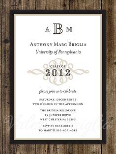 classic elegant graduation 3 photo announcement 5 x 7 invitation