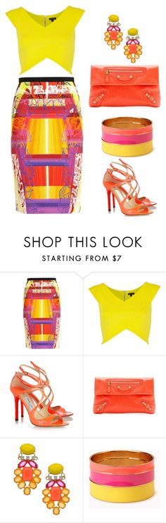 """""""Bold & Beautiful"""" by stay813 ❤ liked on Polyvore featuring Peter Pilotto, River Island, Jimmy Choo, Balenciaga, David Aubrey and Forever 21"""