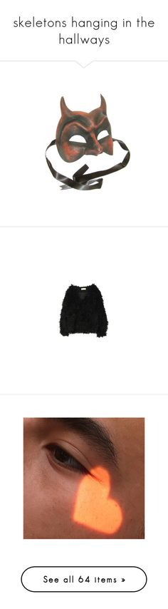 """""""skeletons hanging in the hallways"""" by sunlight-bby ❤ liked on Polyvore featuring masks, accessories, fillers, things, extra, outerwear, jackets, tops, sweaters and shoes"""
