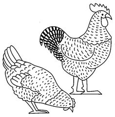 hens Adult coloring pages Chicken Painting, Chicken Art, Chicken Tattoo, Cross Stitch Embroidery, Hand Embroidery, Arte Do Galo, Chicken Coop Signs, Chicken Quilt, Chicken Pattern