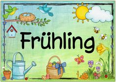"Ideenreise: Seasonal Poster ""Spring"" Source by - Seasons Activities, Kindergarten Activities, Preschool, Rainy Season Essay, Kindergarten Portfolio, Seasons Posters, German Language Learning, Diy For Kids, Classroom"