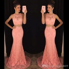 2016 New Sexy Full Lace Long Mermaid Two Pieces Prom Dresses Illusion Neck…