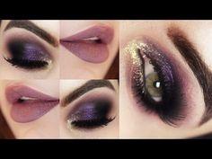 Maquiagem Roxa e Dourada com Produtos Baratinhos - Christmas Makeup Tutorial - YouTube