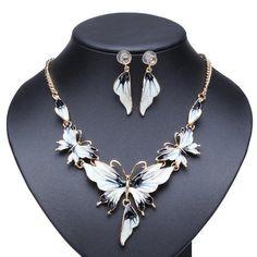 Oil Drop Butterfly Necklace & Earring Set