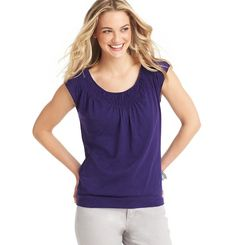 Loft - Womens Petite Blouses & Tops: Petite T-Shirts, Petite Blouses: LOFT - Petite Smocked Neck Cotton Tee