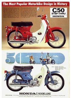 '70's Honda Civic C50 - publ Honda Scooters, Honda Motors, Honda Bikes, Honda Cub, Honda Civic, Japanese Motorcycle, Retro Motorcycle, Moped Scooter, Vespa