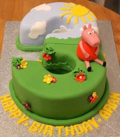 Peppa pig third birthday cake