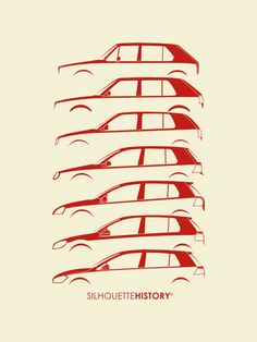 """silhouettehistory: """"Wolfsburger Hatch Five SilhouetteHistory Silhouettes of the seven generations of the Volkswagen Golf, from I to VII. Golf Mk3, Golf 1 Cabrio, Volkswagen Golf Mk1, Vw Mk1, Volkswagen Models, Volkswagen Logo, Vw Logo, Car Silhouette, Vw Scirocco"""