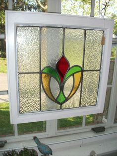Hanging stained glass window Antique Stained Glass Windows, Stained Glass Flowers, Faux Stained Glass, Stained Glass Designs, Stained Glass Panels, Stained Glass Projects, Stained Glass Patterns, Leaded Glass, Mosaic Glass