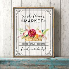 Free Printable Farmhouse Fresh Flower Market Wall Art /// 4 Different Versions! - The Cottage Market Cactus Wall Art, Cactus Print, Free Printable Art, Free Printables, Easter Printables, Printable Labels, Family Subway Art, Farmhouse Wall Art, Farmhouse Decor