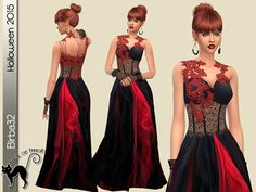 An elegant Gothic-inspired dress with full skirt in tulle, lace bustier and a cascade of red flowers. Perfect for Halloween but also in any other time of year.  Found in TSR Category 'Sims 4 Female...