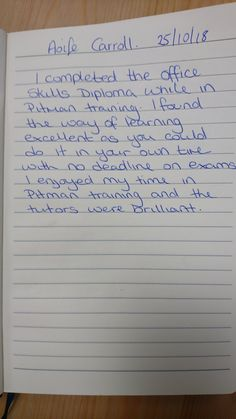 Office Skills student testimonial from Pitman Training in Wexford. Thank you Aoife! Training Courses, Student