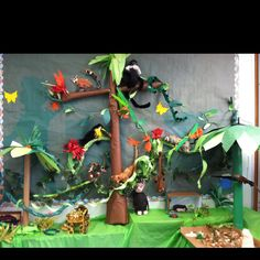 This is my classroom rainforest. The children each researched an animal and made a 3D model of it to add to the rainforest. They did an amazing job!