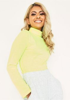 aef812add28a3 Tammi Neon Yellow Roll Neck Top. Tammi Neon Yellow Roll Neck Top Missy  Empire