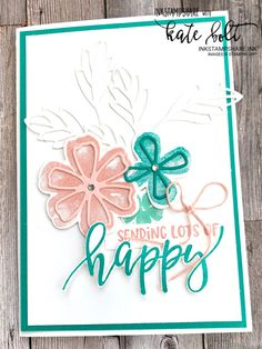 Flower Stamp, Flower Cards, Handmade Birthday Cards, Greeting Cards Handmade, Square Card, Stamping Up Cards, Happy Mail, Sympathy Cards, Creative Cards