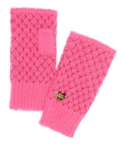 Look what I found on #zulily! Neon Pink Net Worth Fingerless Gloves by Betsey Johnson #zulilyfinds