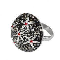 Schmuck-Design24 - Ring blossom curl   Ring 925 Sterling Silber rhodiniert mit Kristallsteinen Größe Ø ca. 25mm