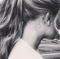 Tatto cross #gril, #cross behind the ear. Tattoo Cross EarSmall ...