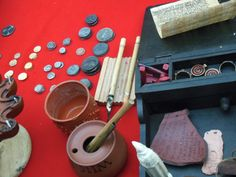 "Coins and writing things at ""Up Late in Pompeii"", a Roman re-enactment event at the British Museum in May 2013."