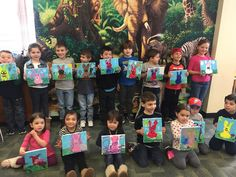 The finished products...Check out all the colorful bunnies these young patrons painted this morning!