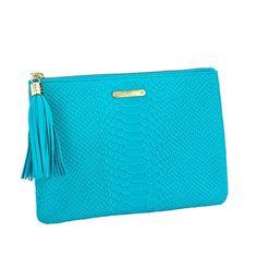 #Aqua, #Bag, #Clutch, #Gigi, #GigiNewYork, #Handbag, #Leather, #Monogram, #Oba, #Personalize, #Pyy - Aqua All in One Bag - Embossed Python