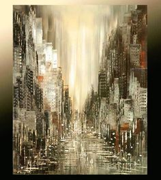 Cityscape Painting Abstract Skyline Urban City Waterfront Original Palette Knife handmade black white silver by Iliina - Made to order.