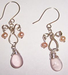 Silver Wire Earrings with Freshwater Pearls and Pink Teardrop Bead  #Handmade #DropDangle